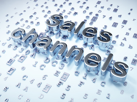 Advertising concept: Silver Sales Channels on digital background, 3d render photo