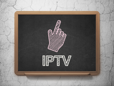Web development concept: Mouse Cursor icon and text IPTV on Black chalkboard on grunge wall background, 3d render photo