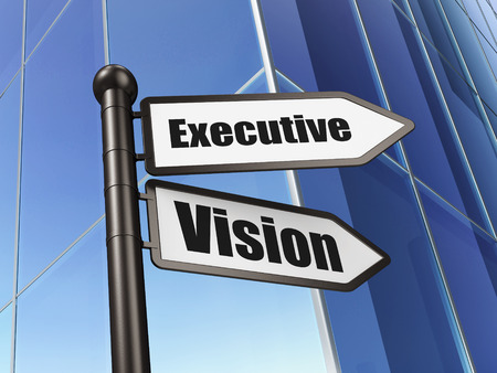 Finance concept: sign Executive Vision on Building background, 3d render photo
