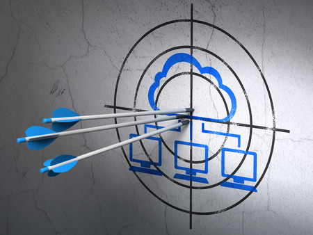 Success cloud networking concept: arrows hitting the center of Blue Cloud Network target on wall background, 3d render photo