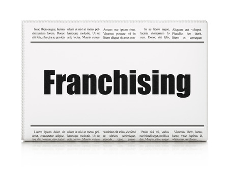franchising: Business concept: newspaper headline Franchising on White background, 3d render