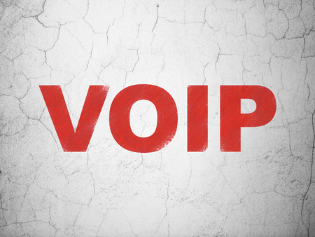 Web development concept: Red VOIP on textured concrete wall background, 3d render photo