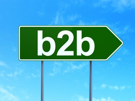 Finance concept: B2b on green road (highway) sign, clear blue sky background, 3d render photo