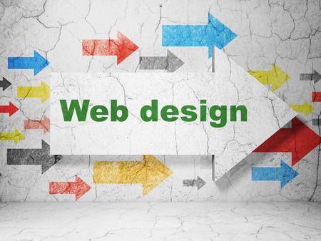 Web development concept:  arrow with Web Design on grunge textured concrete wall background, 3d render photo