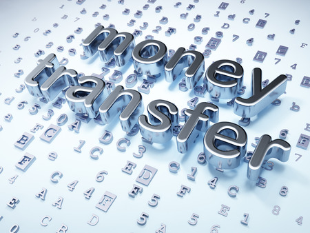 Business concept: Silver Money Transfer on digital background, 3d render photo