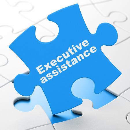Business concept: Executive Assistance on Blue puzzle pieces background, 3d render photo