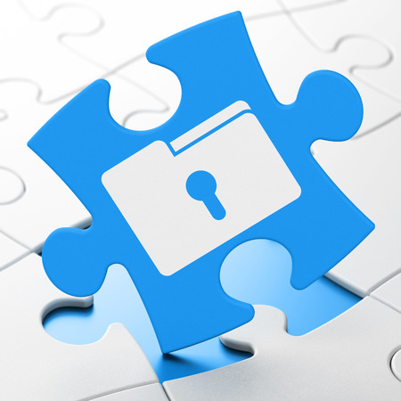 Finance concept: Folder With Keyhole on Blue puzzle pieces background, 3d render photo