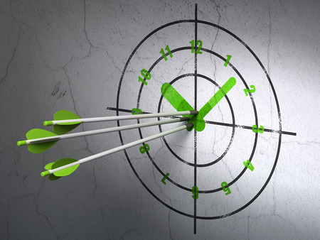 Success time concept: arrows hitting the center of Green Clock target on wall background, 3d render photo