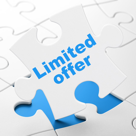 Business concept: Limited Offer on White puzzle pieces background, 3d render photo