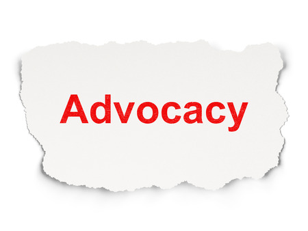 advocacy: Law concept: torn paper with words Advocacy on Paper background, 3d render