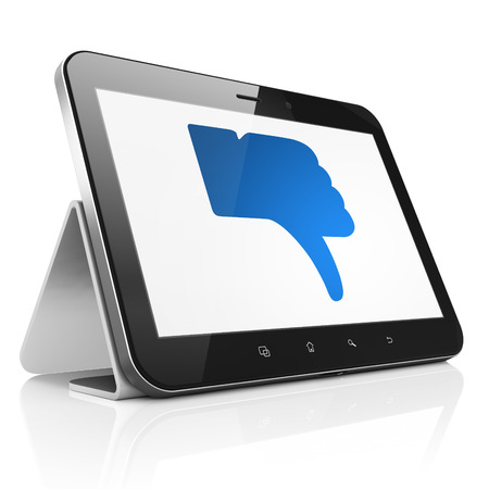 Social media concept: black tablet pc computer with Thumb Down icon on display. Modern portable touch pad on White background, 3d render photo