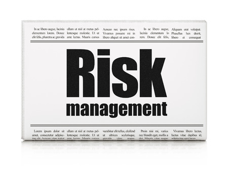 Business concept: newspaper headline Risk Management on White background, 3d render photo
