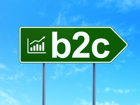 Business concept: B2c and Growth Graph icon on green road (highway) sign, clear blue sky background, 3d render photo