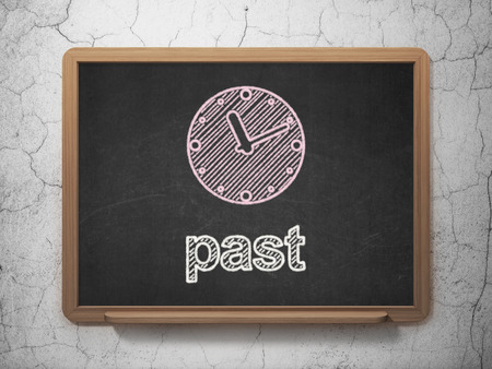 Timeline concept: Clock icon and text Past on Black chalkboard on grunge wall background, 3d render photo