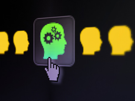 Education concept: pixelated Head With Gears icon on button with Hand cursor on digital computer screen, selected focus 3d render photo