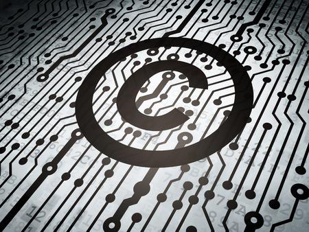 Law concept: circuit avec le droit d'auteur icône, rendu 3d