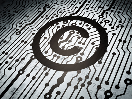 Law concept: circuit board with  Copyright icon, 3d render photo
