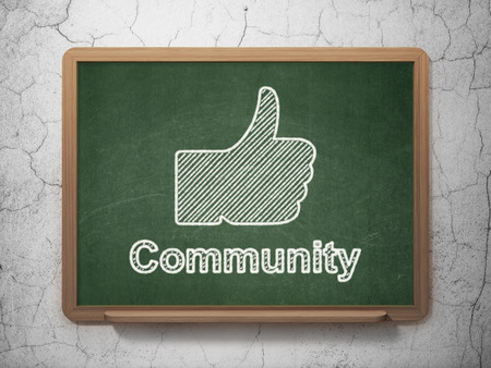 Social media concept: Thumb Up icon and text Community on Green chalkboard on grunge wall background, 3d render photo