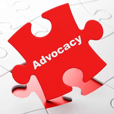 Law concept: Advocacy on Red puzzle pieces background, 3d render Stock Photo