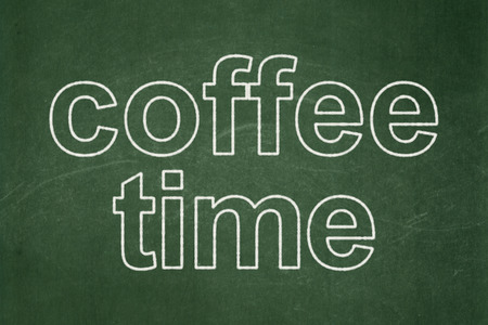 Time concept: text Coffee Time on Green chalkboard background, 3d render photo
