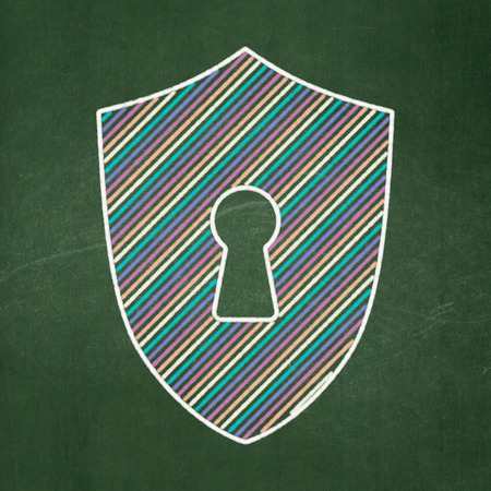 Safety concept: Shield With Keyhole icon on Green chalkboard background, 3d render photo