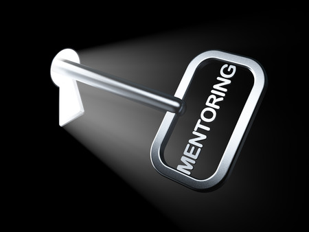mentoring: Education concept: Mentoring on key in keyhole, 3d render Stock Photo