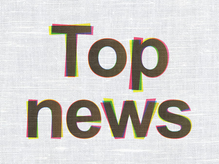 News concept: CMYK Top News on linen fabric texture background, 3d render photo