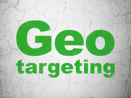 busines: Business concept: Green Geo Targeting on textured concrete wall background, 3d render Stock Photo
