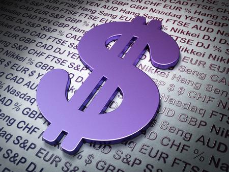 fondos violeta: Concepto de divisas: dólar en dinero de antecedentes, 3d