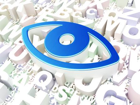 Privacy concept: Eye on alphabet background, 3d render photo