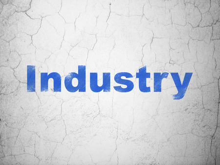 busines: Finance concept: Blue Industry on textured concrete wall background, 3d render