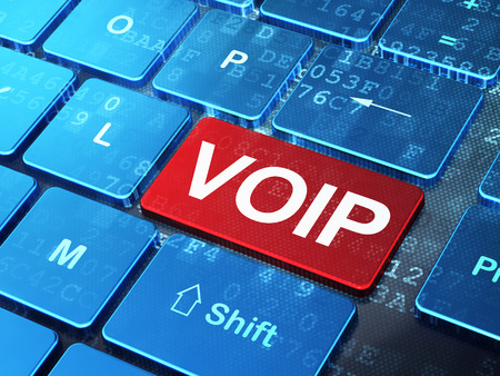 Web design concept: computer keyboard with word VOIP on enter button background, 3d render Archivio Fotografico