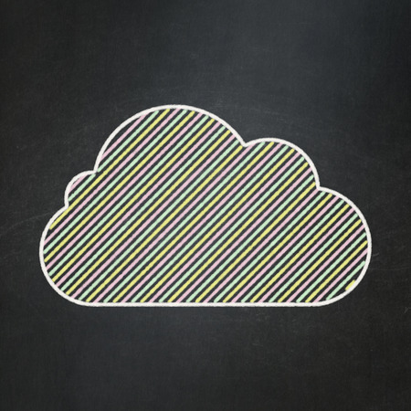 Cloud technology concept: Cloud icon on Black chalkboard background, 3d render photo