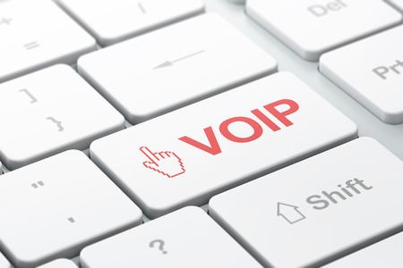 Web development concept: computer keyboard with Mouse Cursor icon and word VOIP, selected focus on enter button, 3d render photo