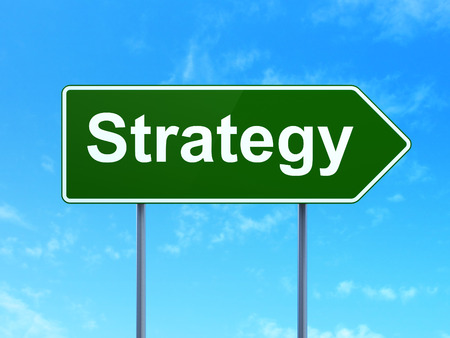 clear strategy: Finance concept: Strategy on green road (highway) sign, clear blue sky background, 3d render Stock Photo