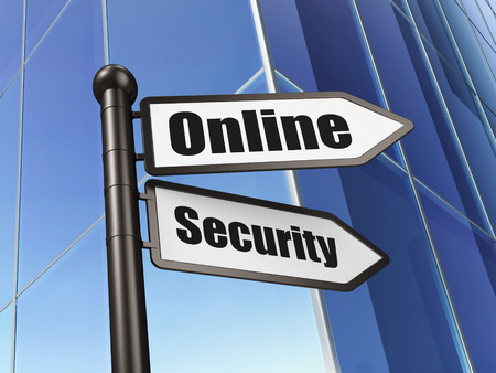 online privacy: Privacy concept: sign Online Security on Building background, 3d render