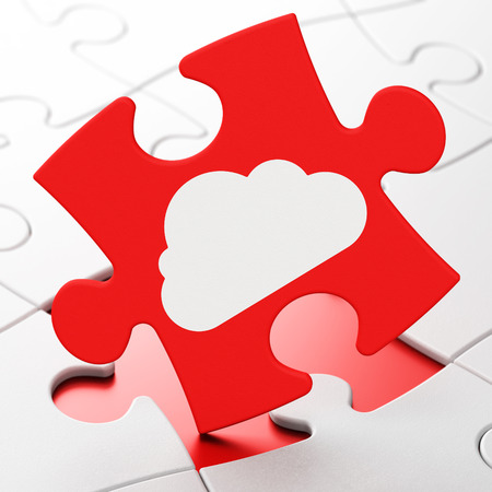 Cloud technology concept: Cloud on Red puzzle pieces background, 3d render photo