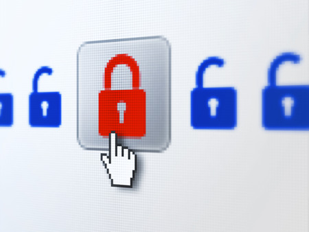 Safety concept: pixelated Locks icon on button with Hand cursor on digital computer screen, selected focus 3d render photo