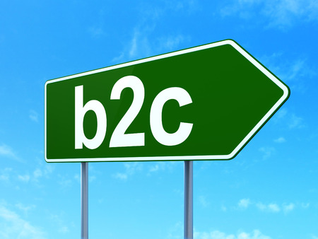 b2c: Business concept: B2c on green road (highway) sign, clear blue sky background, 3d render Stock Photo