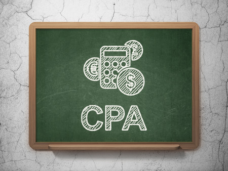 cpa: Finance concept: Calculator icon and text CPA on Green chalkboard on grunge wall background, 3d render