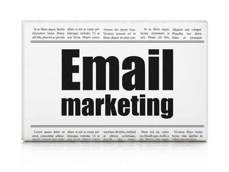 Business concept: newspaper headline Email Marketing on White background, 3d render photo