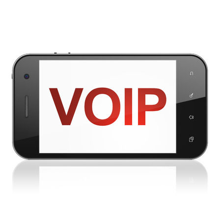 Web design concept: smartphone with text VOIP on display. Mobile smart phone on White background, cell phone 3d render photo