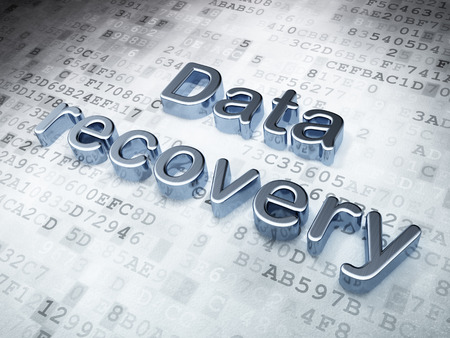 data recovery: Data concept: Silver Data Recovery on digital background, 3d render