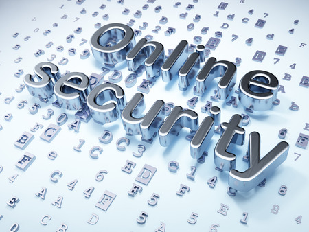 online privacy: Privacy concept: Silver Online Security on digital background, 3d render Stock Photo