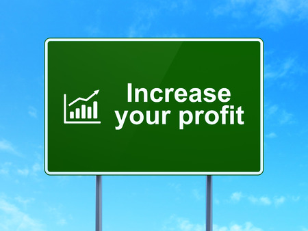 Increase Your profit and Growth Graph icon on green road (highway) sign photo