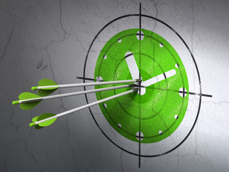 arrows hitting the center of Green Clock target on wall background, 3d render photo