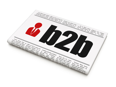 newspaper headline B2b and Business Man icon on White background, 3d render photo