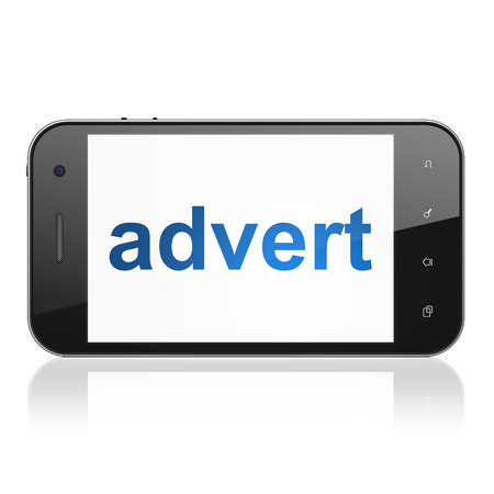 advert: smartphone with text Advert on display