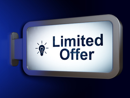 Limited Offer and Light Bulb on advertising billboard background, 3d render photo