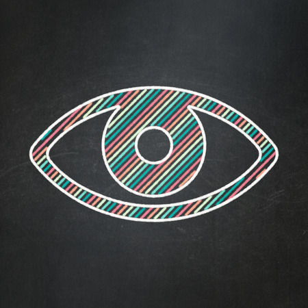 Security concept: Eye icon on Black chalkboard background, 3d render photo